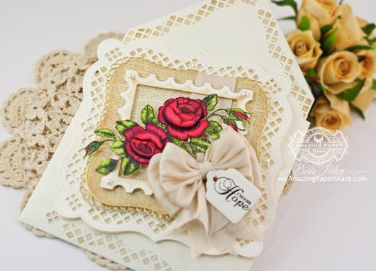 Card Making Ideas by Becca Feeken using Punch Board enveloped embellished with Spellbinders A2 Bracket Border One