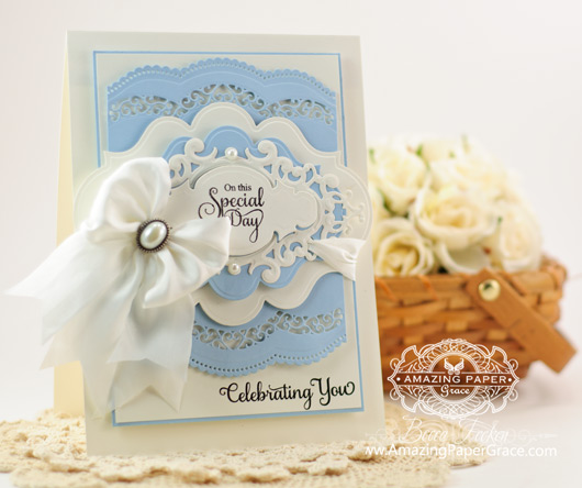 Congrats Card Making Ideas by Becca Feeken using Vintage Filigree Layers and Spellbinders Scalloped Borders One and Two