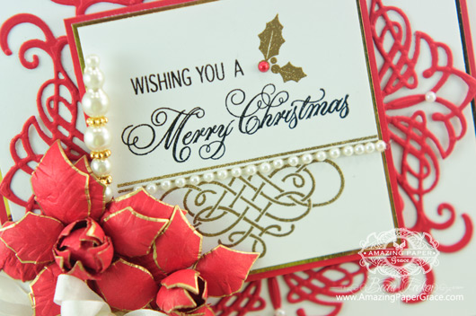 Christmas Card Making Ideas by Becca Feeken using JustRite Heirloom Flourish Two and  Elegant Christmas Swirls (closeup)