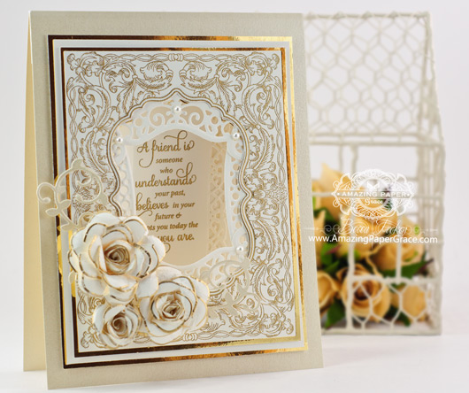 Friendship Card Making Ideas by Becca Feeken using JustRite Sculpted Leaves Background and Vintage Labels Seven