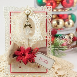 Christmas Card Making Ideas by Becca Feeken using JustRite Holly Garlands and Spellbinders Resplendent Rectangles