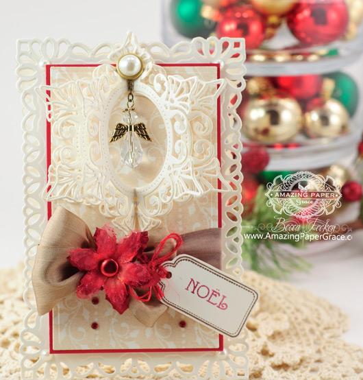 Christmas Card Making Ideas by Becca Feeken using JustRite Holly Garlands and Spellbinders Resplendent Rectangles