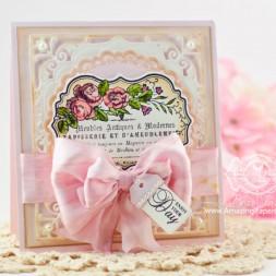 Friendship Card Making Ideas by Becca Feeken using JustRite Rose Bouquet and Spellbinders