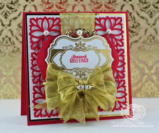 Christmas Card Making Ideas by Becca Feeken using JustRite Snowflake Vintage Labels Seven and Spellbinders