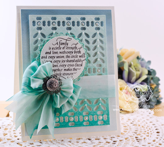 Card Making Ideas by Becca Feeken using Quietfire A Family is a Circle of Strength and Spellbinders French Harmony