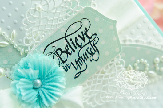 Encouragement Card Making Ideas by Becca Feeken using Quietfire Design and Spellbinders (closeup)