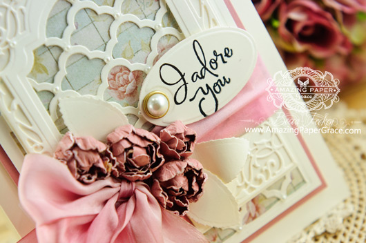 Card Making Ideas by Becca Feeken using Spellbinders Grateful Lattice (closeup)
