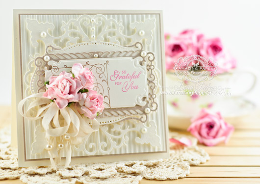 Thank You Card Making Ideas by Becca Feeken using JustRite Vintage Labels Eight and Spellbinders Antique Corner