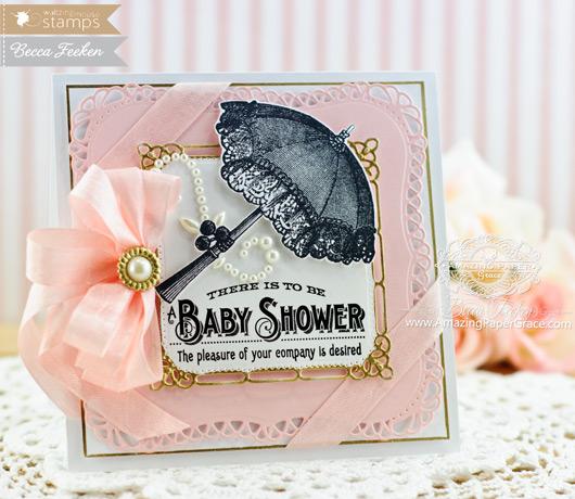Baby Card Making Ideas by Becca Feeken using Waltzingmouse Vintage Baby Shower - www.amazingpapergrace.com