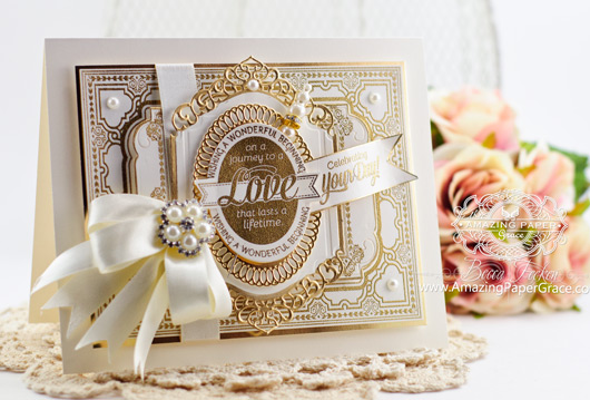 Wedding Card Making Ideas by Becca Feeken using JustRite Wedding Wishes and Spellbinders Divine Eloquence