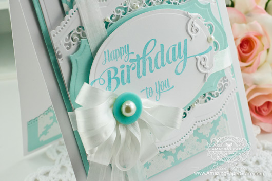 Birthday Card Making Ideas by Becca Feeken using JustRite Papercrafts Extra Grand Birthday Sentiment and Spellbinders