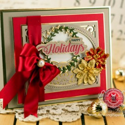 Christmas Card Making Ideas by Becca Feeken using JustRite Extra Grand Holiday Sentiments and Spellbinders Heirloom Legacy