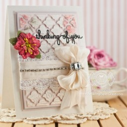 Card Making Ideas by Becca Feeken using Spellbinders Sentiments 4 and Grateful Lattice