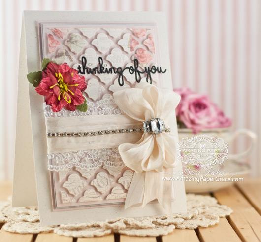 Card Making Ideas by Becca Feeken using Spellbinders Sentiments 4 and Grateful Lattice