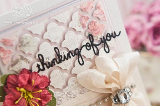 Card Making Ideas by Becca Feeken using Spellbinders Sentiments Four and Grateful Lattice