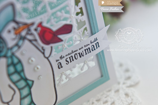 Christmas Card Making Ideas by Becca Feeken using Waltzingmouse Stamps Frosty in the Meadow and Spellbinders Flurries - www.amazingpapergrace.com
