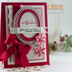 Christmas Card Making Ideas by Becca Feeken using Waltzingmouse Stamps Warm Fuzzies and Spellbinders Oval Bliss - www.amazingpapergrace.com