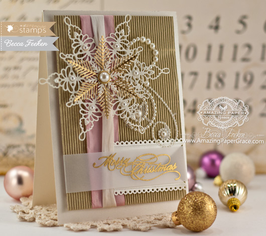 Christmas Card Making Ideas by Becca Feeken using Waltzingmouse Stamps Snowflake Die - www.amazingpapergrace.com