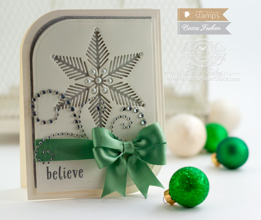 Christmas Card Making Ideas by Becca Feeken using Waltzingmouse Stamps Snowflake Die