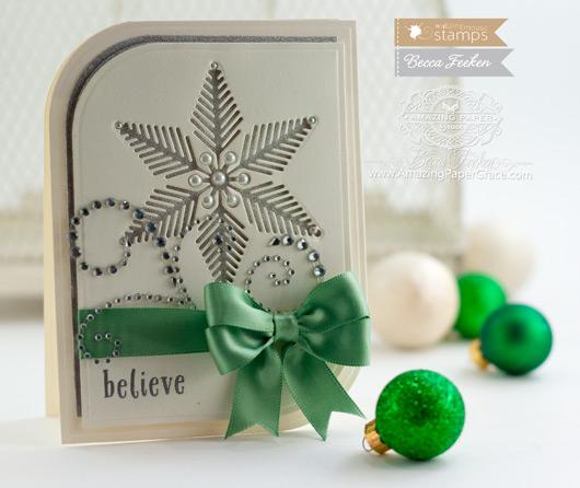 Christmas Card Making Ideas by Becca Feeken using Waltzingmouse Stamps Snowflake Die