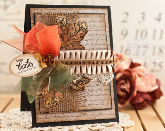 Fall Card Making Ideas by Becca Feeken using JustRite Papercrafts Oak Leaves - www.amazingpapergrace.com