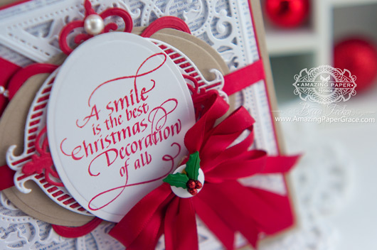 Christmas Card Making Ideas by Becca Feeken using Quietfire Design A Smile is the Best Christmas Decoration and Spellbinders Fleur de Elegance