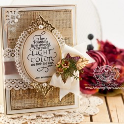 Fall Card Making Ideas by Becca Feeken using Quietfire Design How Beautiful Leaves Grow Old and Spellbinders Oval Bliss and Sparkle