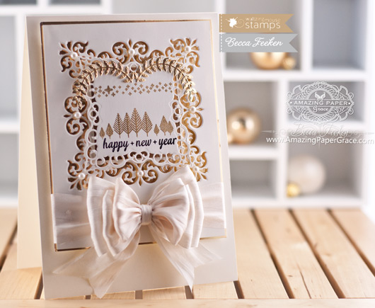 Christmas Card Making Ideas by Becca Feeken using Waltzingmouse Stamps Flurries and Spellbinders Majesty