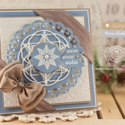 Christmas Card Making Ideas using Waltzingmouse Flurries and Pretty Panels 1 and Snowflake 1 Die Set - www.amazingpapergrace.com