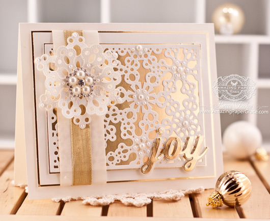 Christmas Card making ideas by Becca Feeken using My Favorite Things Snowflake Fusion Cover-up Die-namics, Pierced Snowflakes Die-namics and Peace, Love, Joy Die-namics - www.amazingpapergrace.com