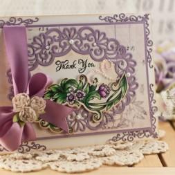 Thank you Card Making Ideas by Becca Feeken using Justrite Sentimental Flowers and Spellbinders Heirloom Oval - www.amazingpapergrace.com