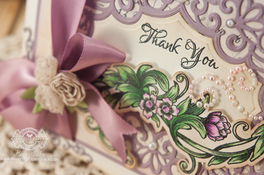 Thank you Card Making Ideas by Becca Feeken using Justrite Sentimental Flowers and Spellbinders Heirloom Oval - www.amazingpapergrace.com
