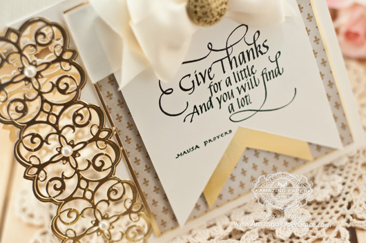 Card Making Ideas by Becca Feeken using Quietfire Design Give Thanks  and Spellbinders Mary Border Strip  - www.amazingpapergrace.com