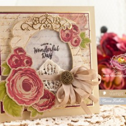 Card Making Ideas by Becca Feeken using Waltzingmouse Stamps - Country Roses and Spellbnders Labels Thirty Nine