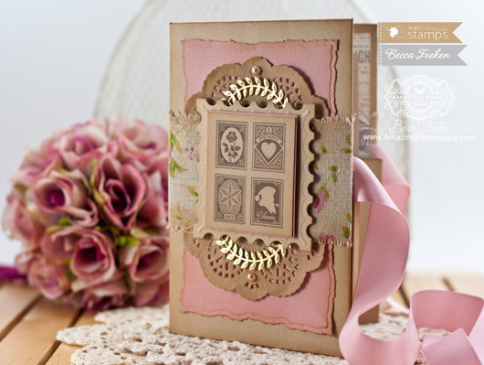 Card Making Ideas by Becca Feeken Using Waltzingmouse Stamps Vintage Post Cards and Spellbinders Victorian Tassels