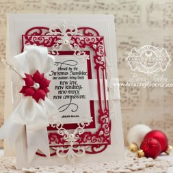 Christmas Card Making Ideas by Becca Feeken using Quietfire Design Blessed by Christmas Sunshine and Spellbinders Regal Frames - www.amazingpapergrace.com