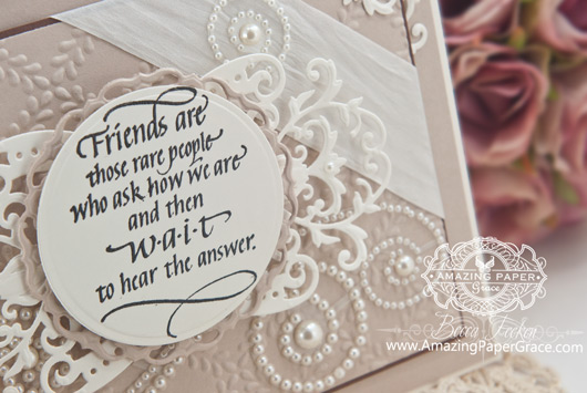 Friendship Card Making Ideas by Becca Feeken using Quietfire Design Friends are those Rare People and Spellbinders Victoria Accents - www.amazingpapergrace.com