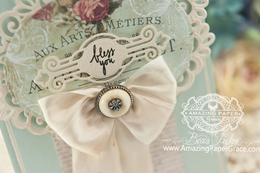 Card Making Ideas by Becca Feeken using Spellbinders Heirloom Oval and Victorian Tags (close up) - www.amazingpapergrace.com