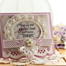 Friendship Card Making Ideas by Becca Feeken using Quietfire Design and Spellbinders Oval Regalia and Spellbinders Romantic Agenda - www.amazingpapergrace.com