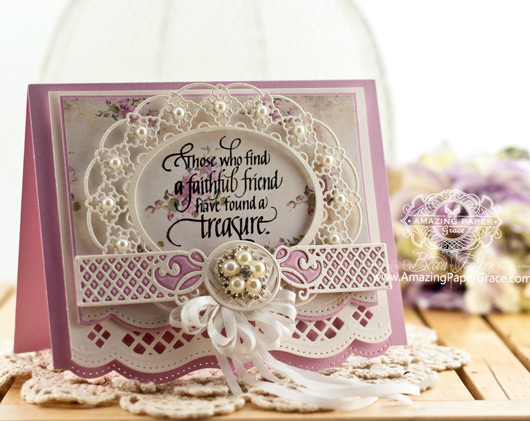 Friendship Card Making Ideas by Becca Feeken using Quietfire Design - Always Be My Friend and Spellbinders Oval Regalia and Spellbinders Romantic Agenda - www.amazingpapergrace.com