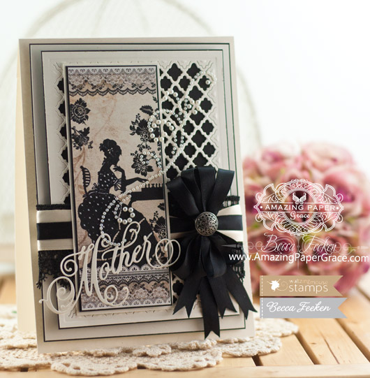 Mothers Day Card Making Ideas by Becca Feeken using Waltzingmouse Stamps Mother Die Template  - www.amazingpapergrace.com