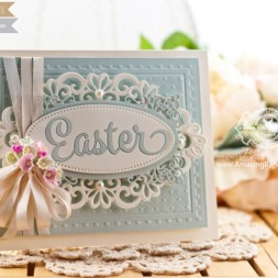 Easter Card Making Ideas by Becca Feeken using Waltzingmouse Easter Die and Spellbinder Heirloom Oval - www.amazingpapergrace.com