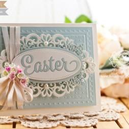 Easter Card Making Ideas by Becca Feeken using Waltzingmouse Easter Die and Spellbinder Heirloom Oval - www.amazingpapergrace.com