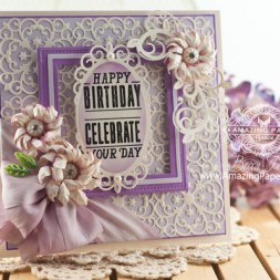 Birthday Card Making Ideas by Becca Feeken using Justrite Papercraft Stacking Sentiment and Spellbinders Victorian Medallion Three - www.amazingpapergrace.com