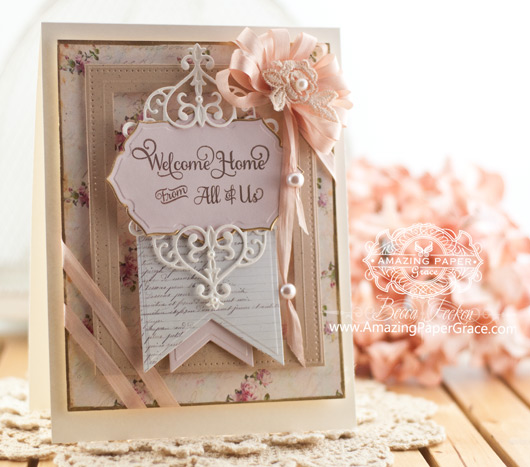 Card Making Ideas by Becca Feeken using JustRite Papercrafts Extended Family Large Fancy Sentiments and Spellbinders Vintage Labels Forty Five - www.amazingpapergrace.com