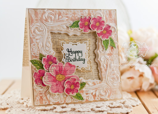 Birthday Card Making Ideas by Becca Feeken using JustRite Romantic Wild Roses and Spellbinders Decorative Applause Embossing Folder and Labels 42 Decorative Elements - www.amazingpapergrace.com