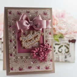 Birthday Card Making Ideas by Becca Feeken using JustRite Grand Handwritten Sentiments and Spellbinders Labels 47 Decorative Elements, Spellbinders Pierced Squares, Spellbinders Blooms Four - www.amazingpapergrace.com