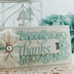 Thank You Card Making Ideas by Becca Feeken using Quietfire Thanks Die and Martha Stewart Fan and Flourishes Punch - www.amazingpapergrace.com