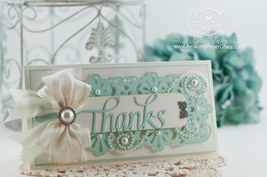 Thank You Card Making Ideas by Becca Feeken using Quietfire Thanks Die  and Martha Stewart Fans and Flourishes Punch - www.amazingpapergrace.com