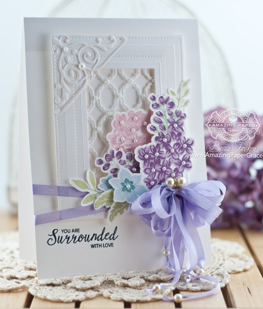 Card Making Ideas by Becca Feeken using JustRite Multi-Step Lilac Bouquet and Spellbinders Grate Effects, Spellbinders Imperial Squares and Spellbinders Pierced Rectangles - www.amazingpapergrace.com